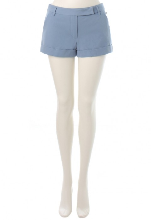 กางเกงขาสั้นผ้ายืดสีฟ้า