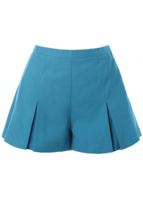 กางเกงขาสั้นสีฟ้าจับจีบทวิส