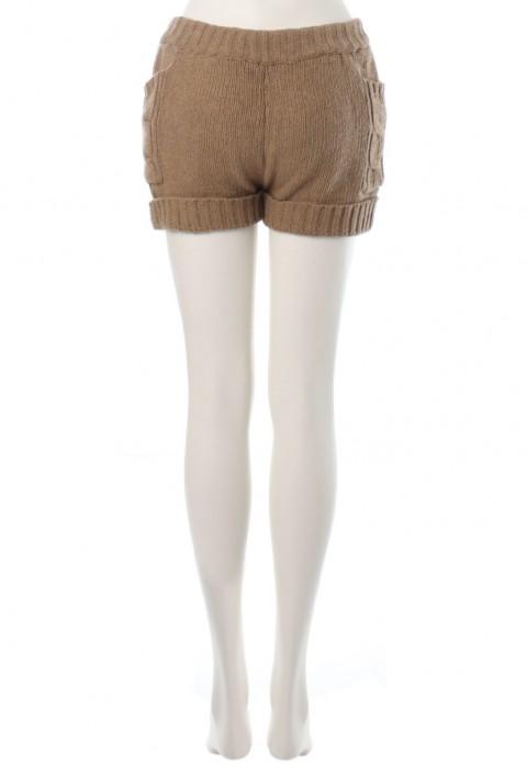 กางเกงขาสั้นผ้านิตติ้งสีน้ำตาล