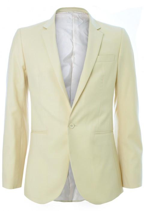 เสื้อสูทผ้าวูลสีเหลืองพาสเทล