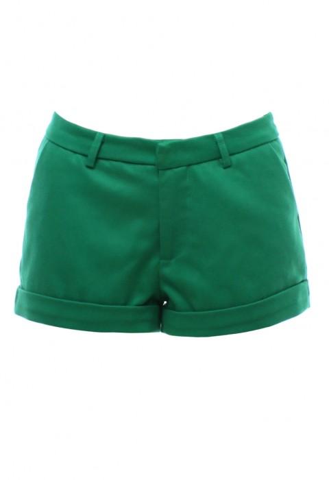 กางเกงขาสั้นสีเขียว ผ้าคอตตอน