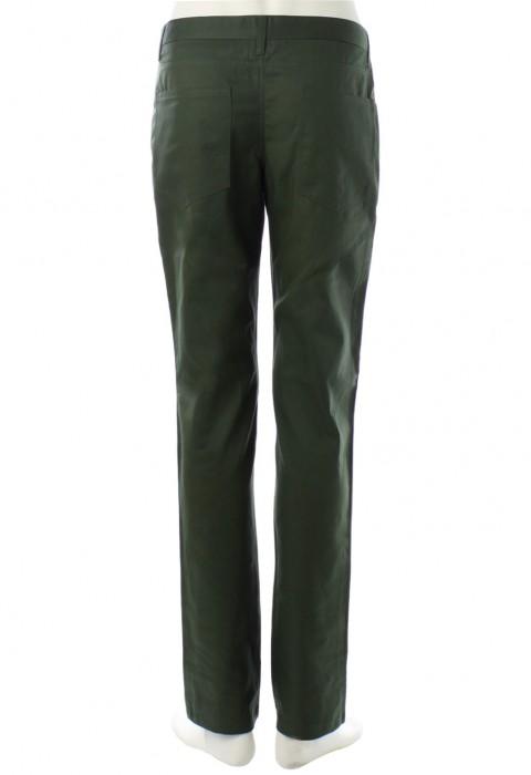 กางเกงสีเขียวขี้ม้ากระเป๋าทรงโค้ง ขากระบอกเล็ก