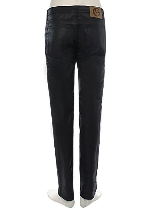 กางเกงยีนส์เคลือบสีดำ